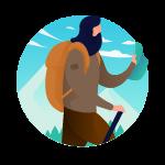 homme se promenant en montagne